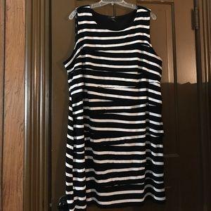 Alfani plus size black and white striped dress